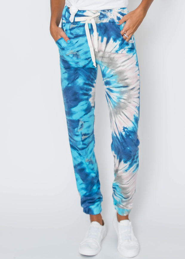 Ocean Blue Tie Dye Joggers, CLOTHING, Lovely Melody, BAD HABIT BOUTIQUE
