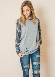 Camo Raglan Cold Shoulder Top - Final Sale