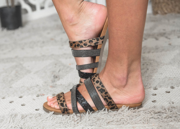 Very G Sandals, leopard sandals, sandals, cheetah sandals, black sandals, summer sandals, strappy sandals