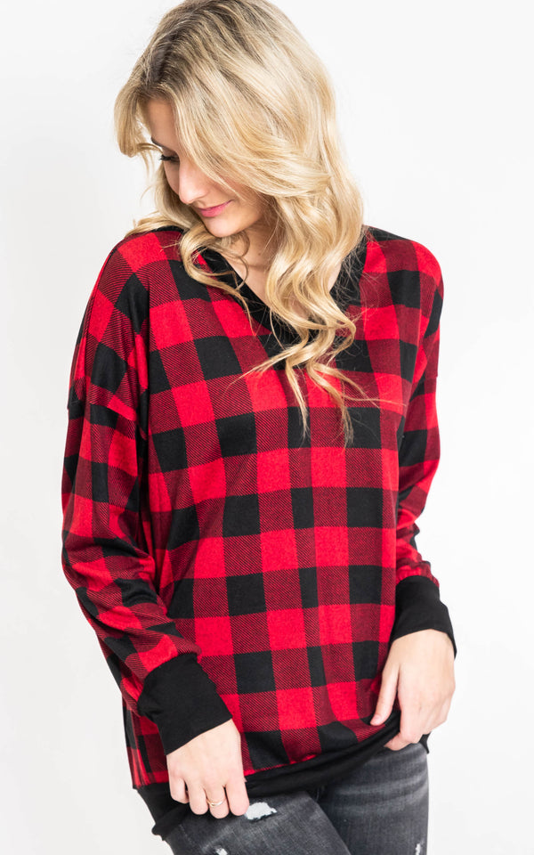 Buffalo Plaid V-Neck Top - Final Sale, CLOTHING, Burgundy Apparel, BAD HABIT BOUTIQUE