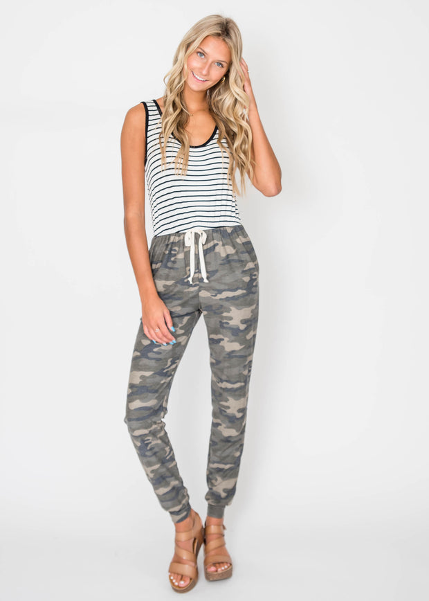 stripe jumpsuit with camo bottom
