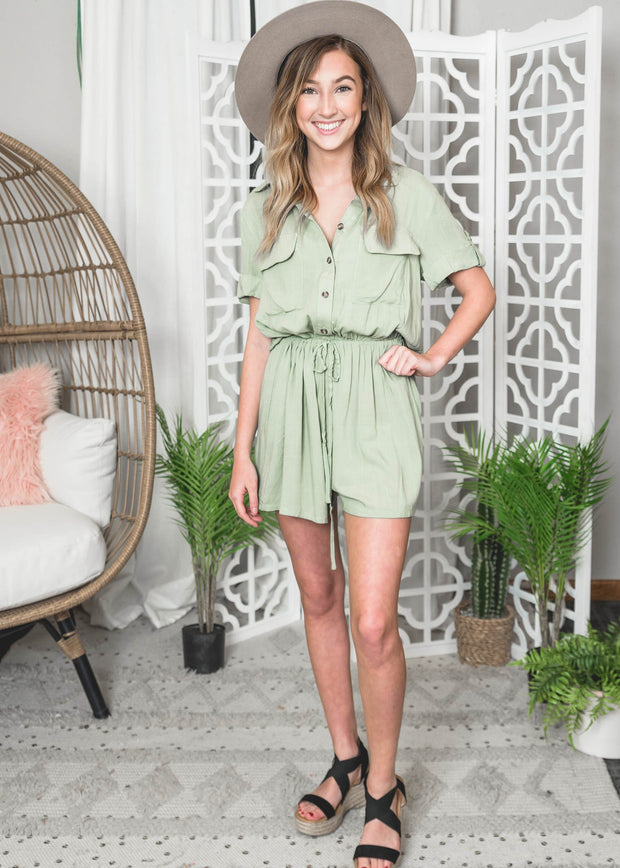 Light Olive Romper, romper, rompers, olive rompers, safari