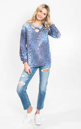 Criss Cross Long Sleeve Cheetah Top   {WHITE BIRCH}, CLOTHING, White Birch, BAD HABIT BOUTIQUE