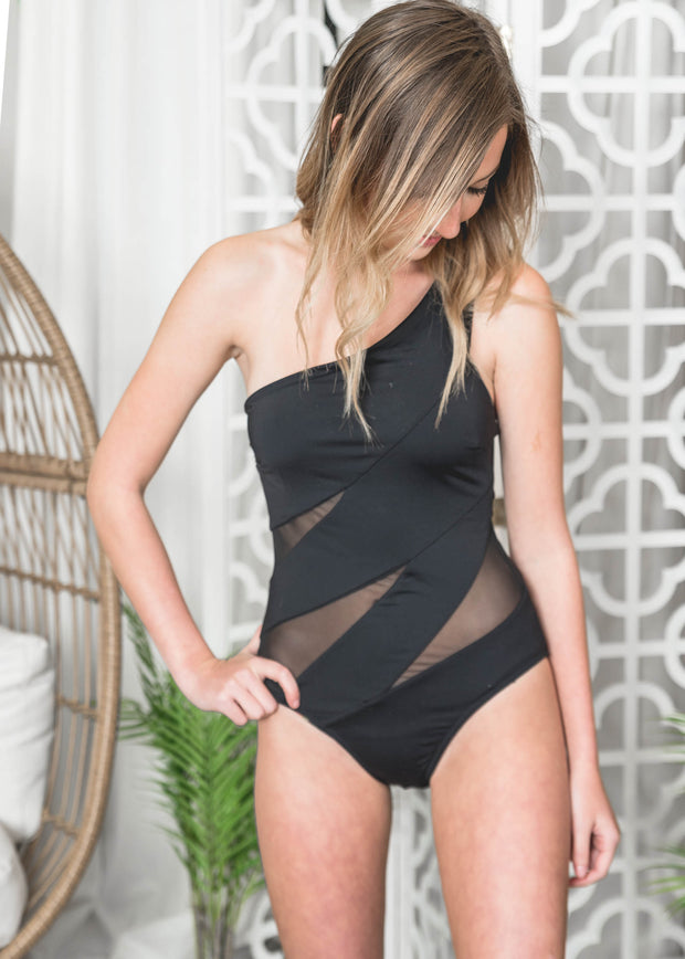 mesh one shoulder black one piece swimsuit