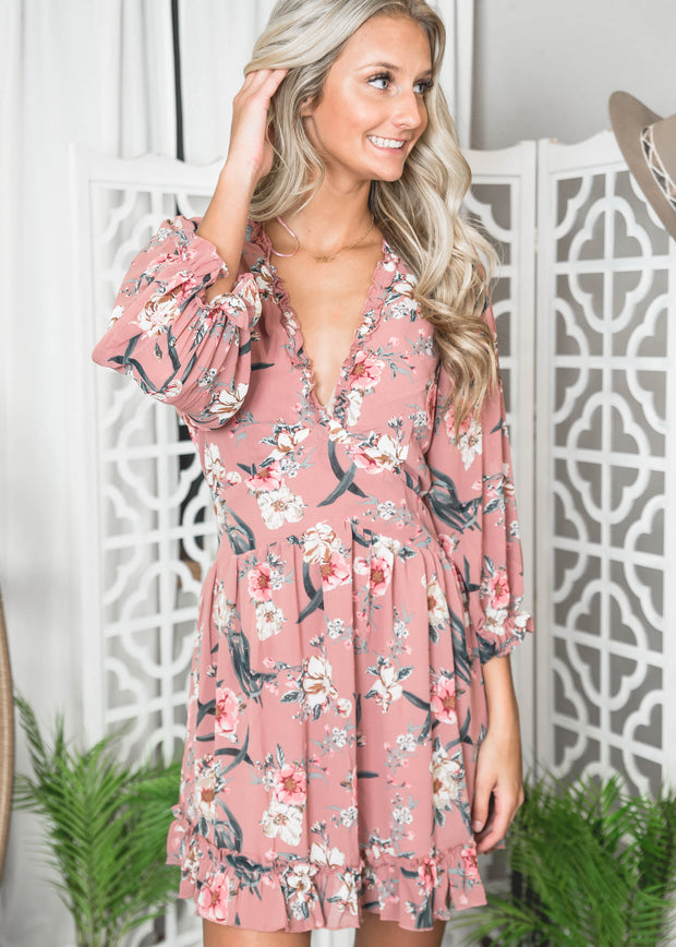 FLORAL FIT AND FLARE DRESS WITH OPEN BACK DETAIL