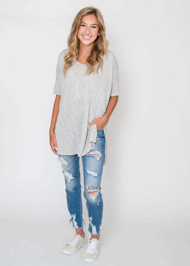 light grey oversized vneck top