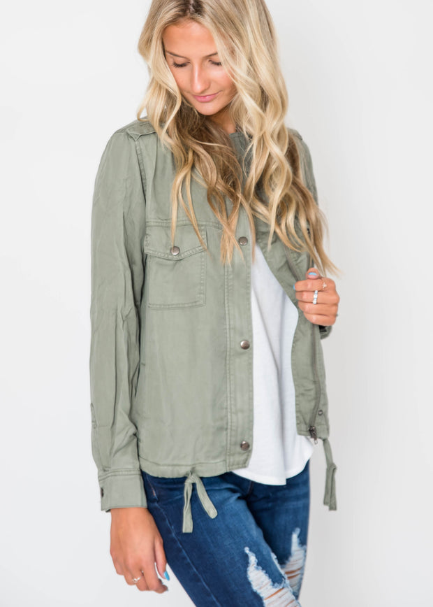 Zip Up Utility Jacket - Olivew, CLOTHING, Be Cool, BAD HABIT BOUTIQUE