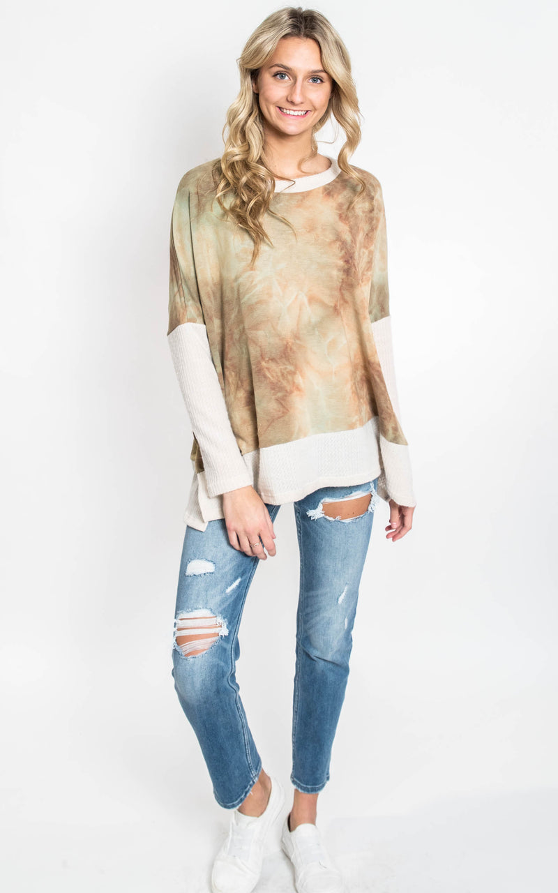 Long Sleeve Tie Dye Knit Sweater   [WHITE BIRCH] FINAL SALE, CLOTHING, White Birch, BAD HABIT BOUTIQUE
