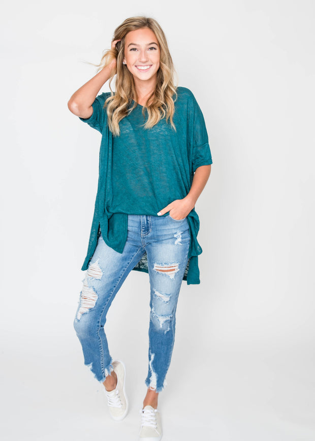 hunter green slub tee