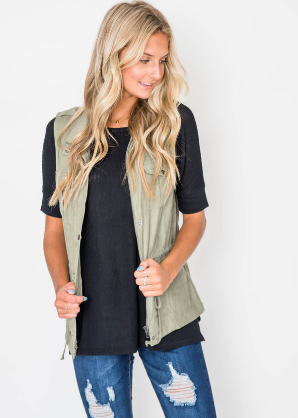 Like-Suede Utility Vest - Olive | FINAL SALE, CLOTHING, Be Cool, BAD HABIT BOUTIQUE