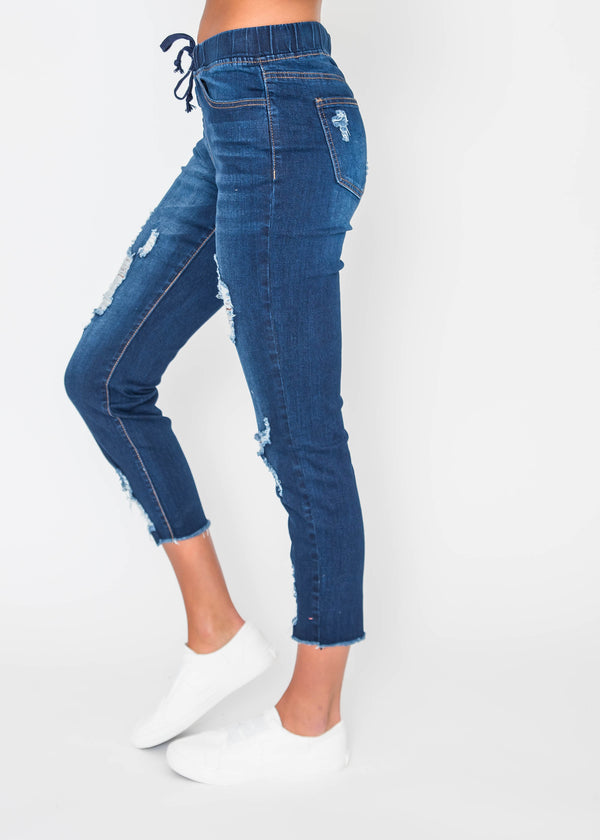 High-Rise Denim Jogger | FINAL SALE, CLOTHING, YMI, BAD HABIT BOUTIQUE