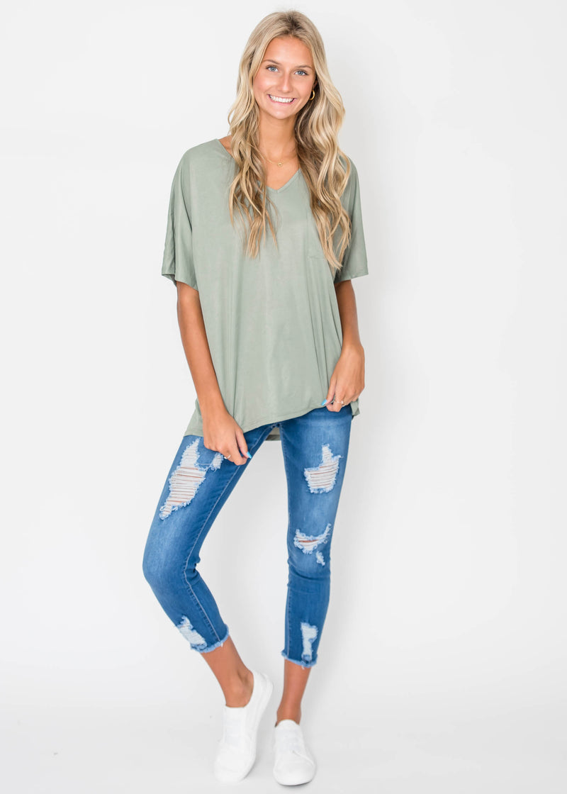 Crepe Knit Dolman Top - Sage | FINAL SALE, CLOTHING, Cherish, BAD HABIT BOUTIQUE