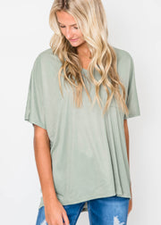 short sleeve top in olive for women