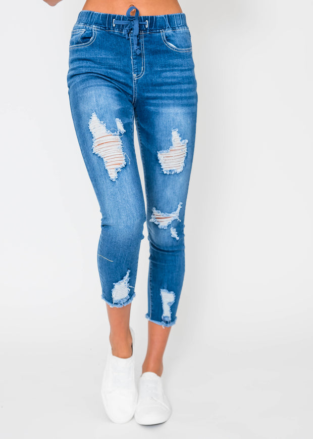 High-Rise Denim Jogger, CLOTHING, YMI, BAD HABIT BOUTIQUE