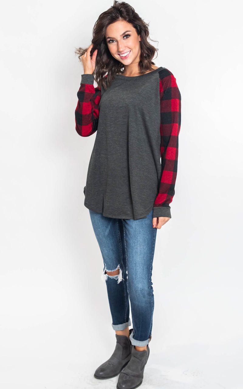 Buffalo Plaid Long Sleeve Top-Lovely Melody, CLOTHING, Lovely Melody, BAD HABIT BOUTIQUE