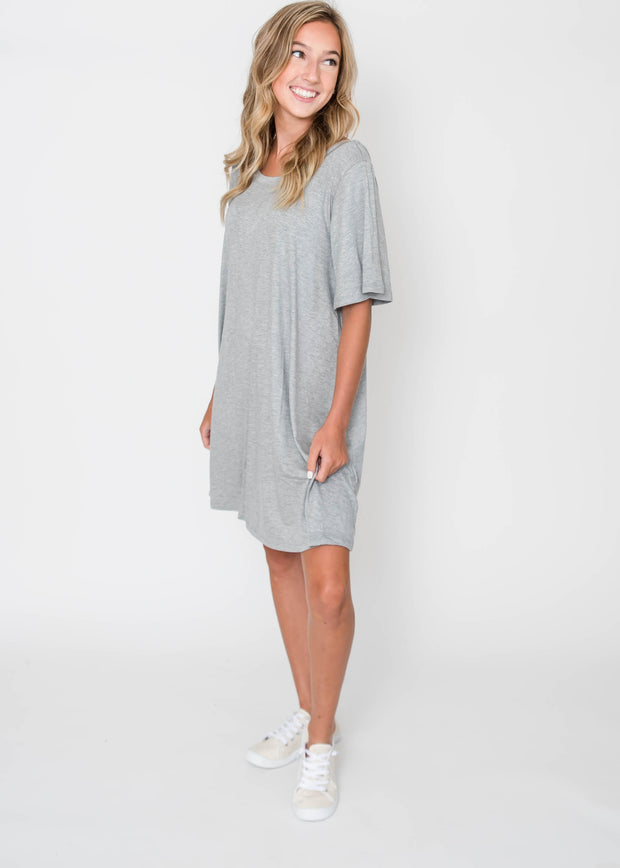 Effortlessly Beautiful Dress - Heather Gray, CLOTHING, Cherish, BAD HABIT BOUTIQUE