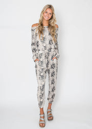 Off the Shoulder Snake Print Jumpsuit - Final Sale, CLOTHING, Cherish, BAD HABIT BOUTIQUE