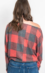 Dolman Sleeve Buffalo Plaid Knit Top   [WHITE BIRCH] FINAL SALE, CLOTHING, White Birch, BAD HABIT BOUTIQUE