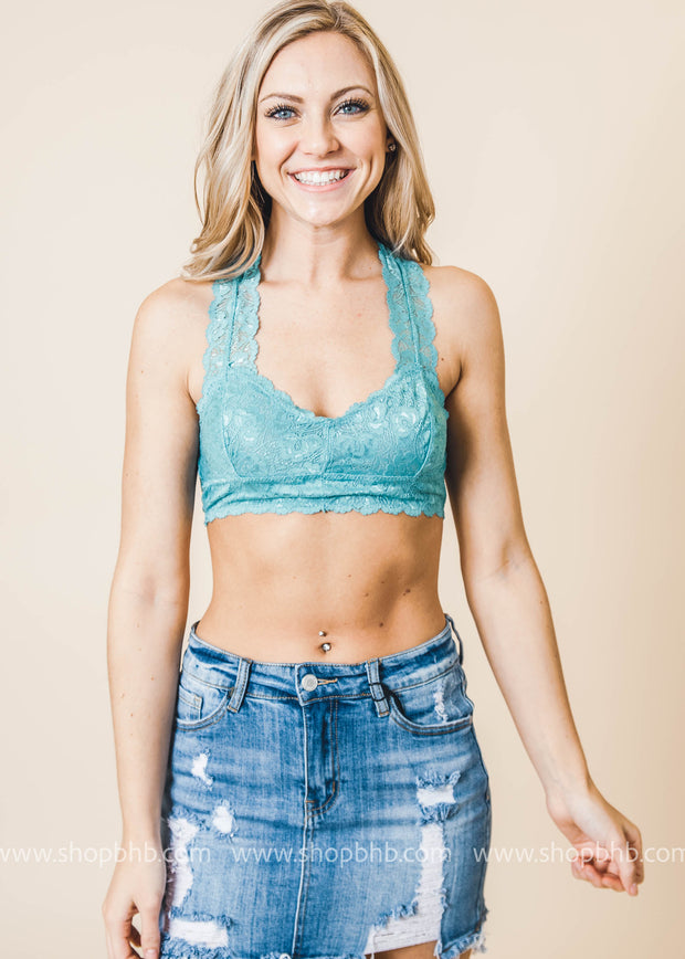 Light Teal Lace Racerback Bralette