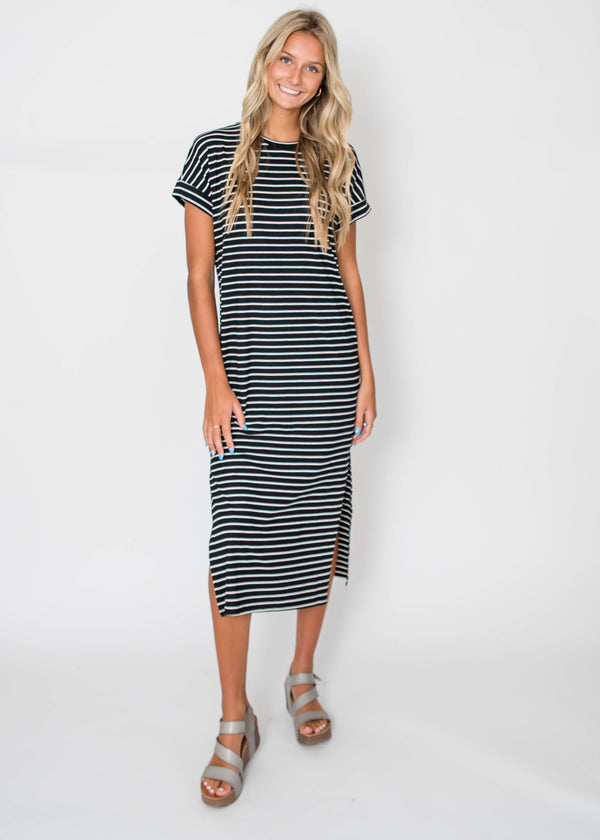 Sara's Striped Ribbed Midi Dress- Black | FINAL SALE, CLOTHING, Cherish, BAD HABIT BOUTIQUE