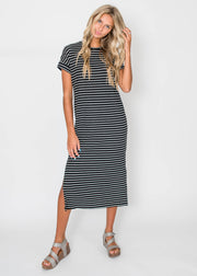 Sara's Striped Ribbed Midi Dress- Black, CLOTHING, Cherish, BAD HABIT BOUTIQUE