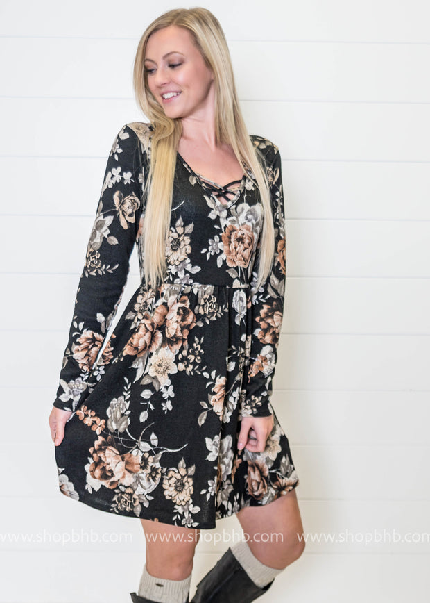 Floral Criss Cross Babydoll Dress- Black, DRESSES, Andree, badhabitboutique