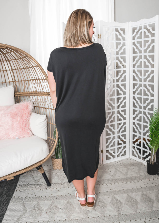 Drop Shoulder Midi Dress, Midi Dress, dresses, dress, short sleeve dresses, solid dresses, black dress