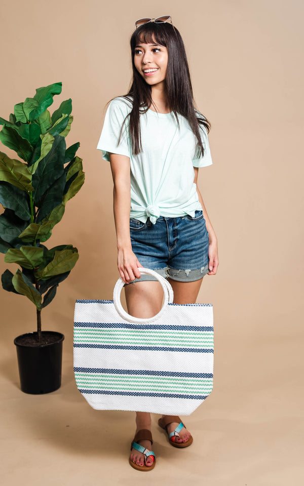 Coastal Soul White Striped Straw Tote with Circle Handle - BAD HABIT BOUTIQUE