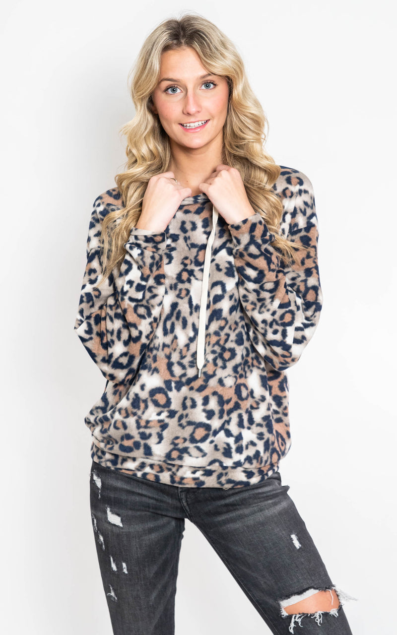 Long Sleeve Leopard Brown Hoodie  {WHITE BIRCH}, CLOTHING, White Birch, BAD HABIT BOUTIQUE