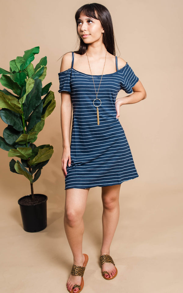 navy white striped off the shoulder dress
