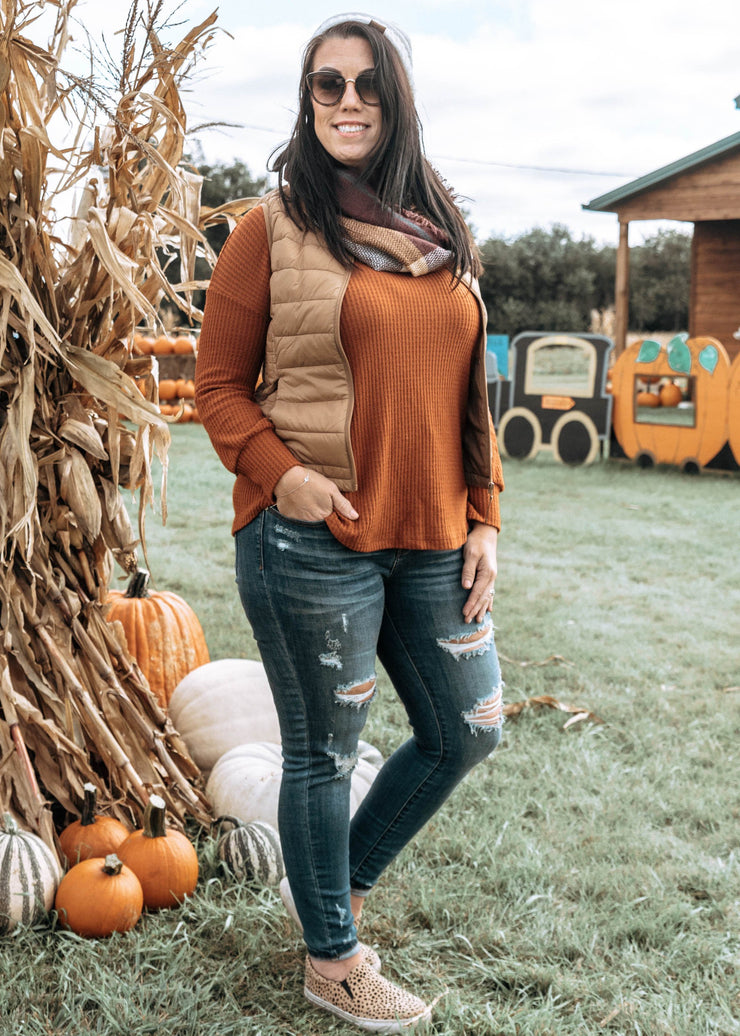 rust waffle knit v-neck top, waffle tops, long sleeve tops