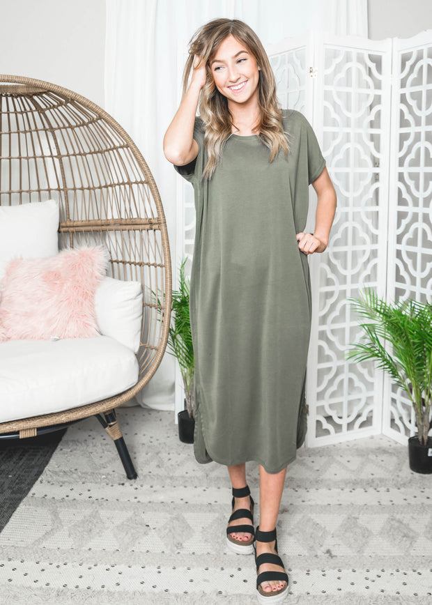 drop shoulder midi dress, midi dress, dresses, spring dress, spring dresses, olive dresses