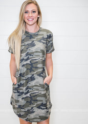 Our short sleeve camo dress is one of our faves