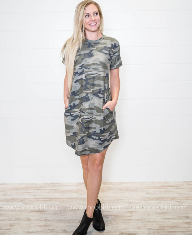 When rocking a camo dress, pair it with booties