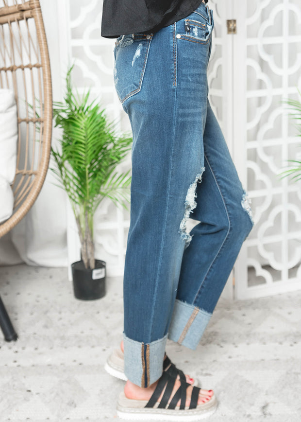 Cuffed Destroyed Denim Jeans- Judy Blue 82362 | FINAL SALE, CLOTHING, JUDY BLUE, BAD HABIT BOUTIQUE