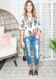ivory tropical button up lace trim dip dye s/s top