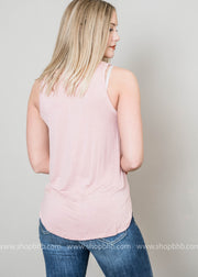 Basic vneck muscle tank in desert rose