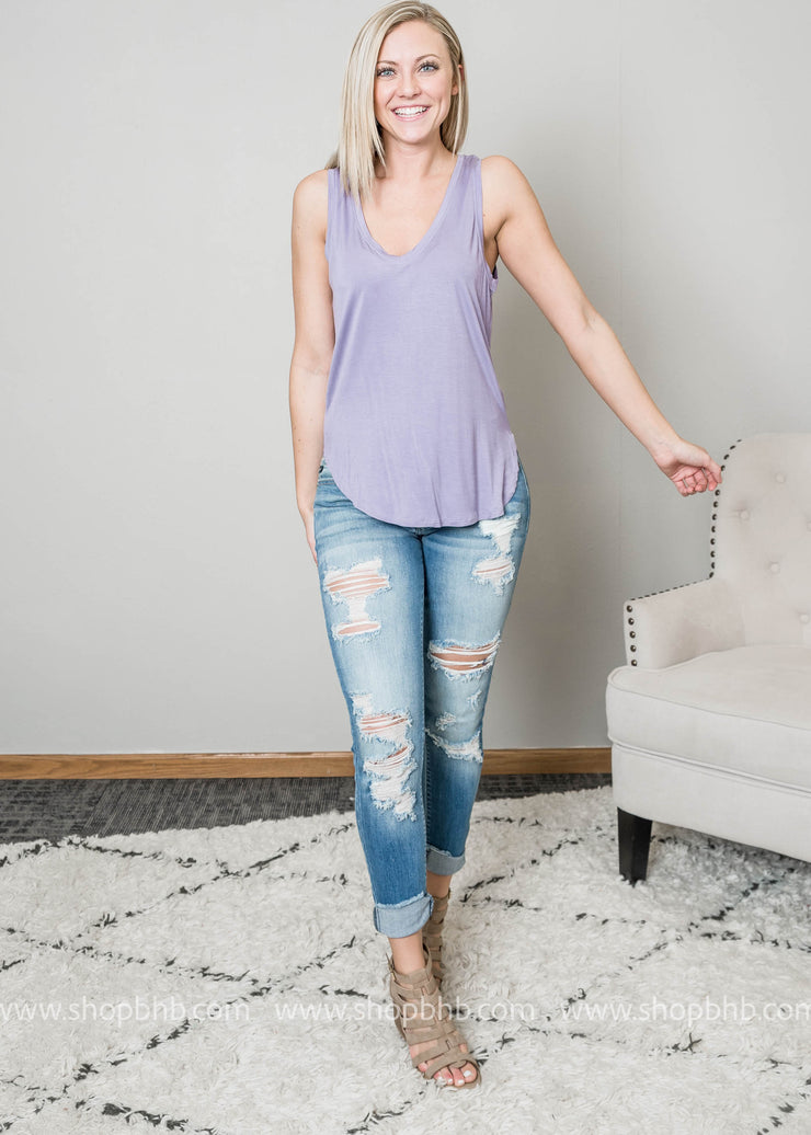 Womens muscle tank in lavender