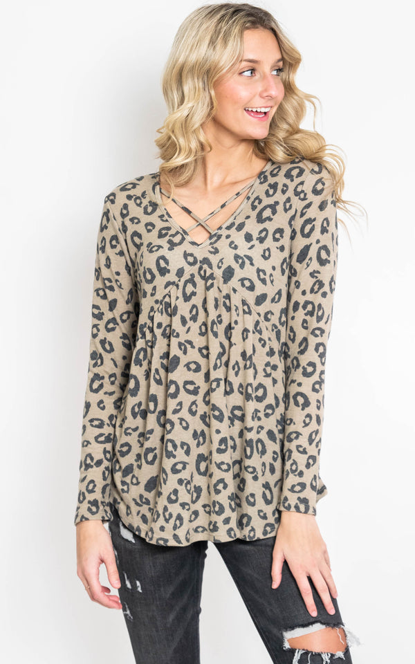 Leopard Criss Cross Babydoll Top, CLOTHING, HEMISIH, BAD HABIT BOUTIQUE