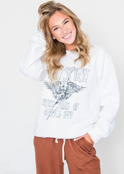 free spirit white sweatshirt