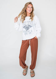 rust colored casual sweat pants