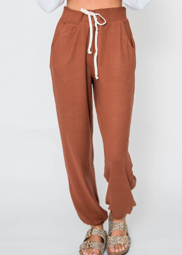 rust colored jogger sweatpants