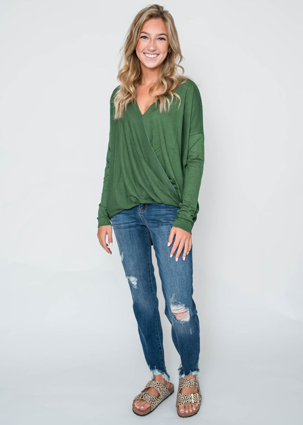 hunter green cross body blouse