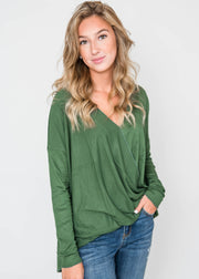 cross body blouse in hunter green