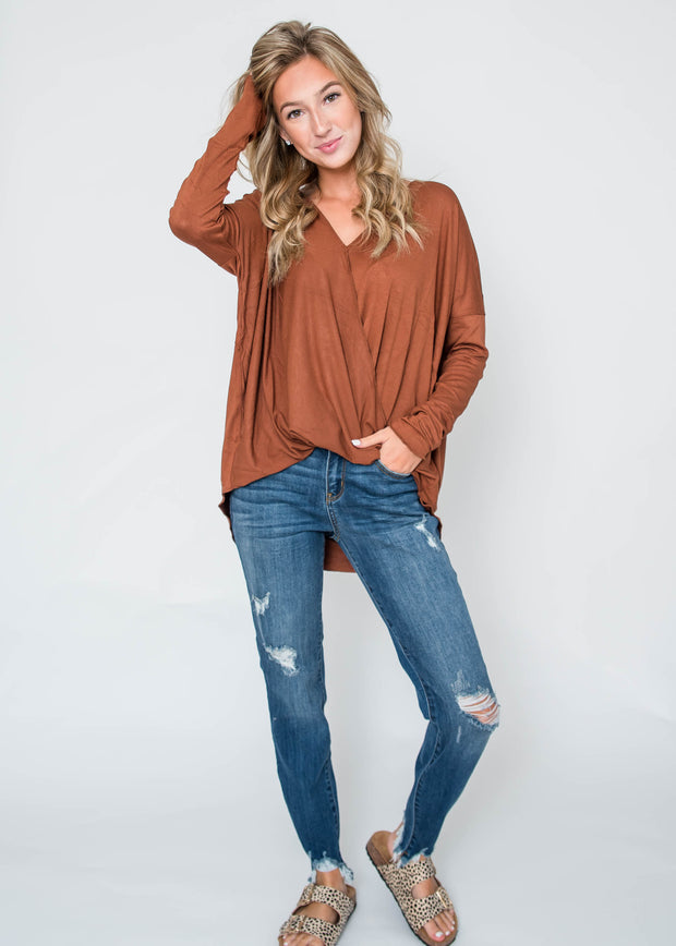 hazelnut cross body blouse