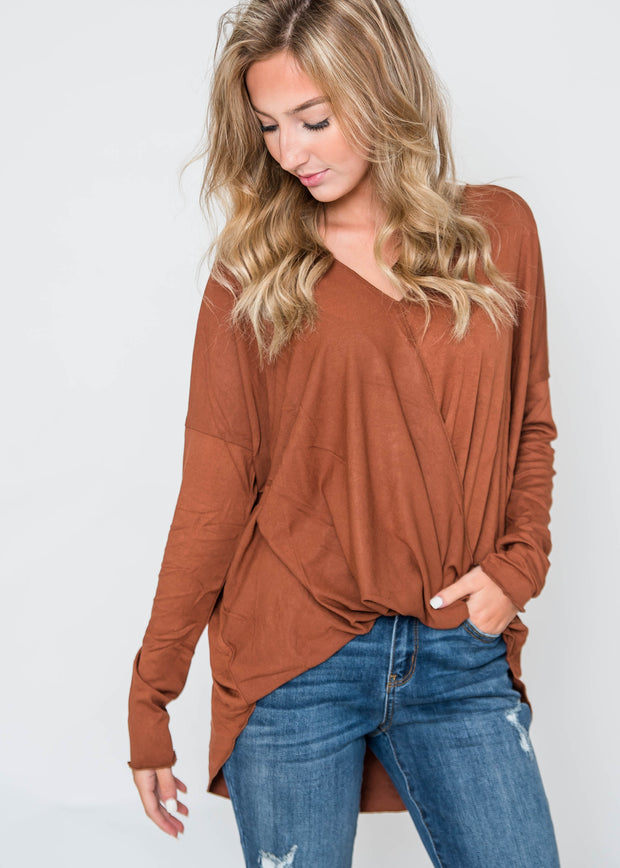 fall cross body blouse in hazelnut
