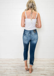 Distressed Ankle Dark Denim Skinny Jeans, DENIM, Nature, badhabitboutique