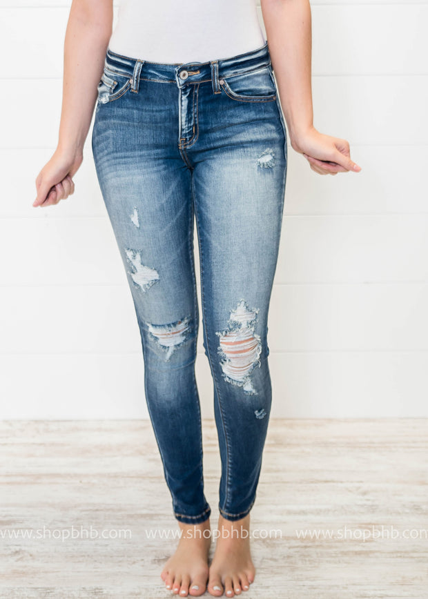 Distressed Skinny Dark Denim Jeans | Kan Can, DENIM, KAN CAN, badhabitboutique