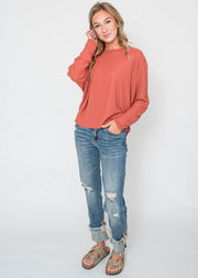 brick dolman sweater for women