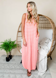 Coral striped tank maxi dress with pockets outfit for summer.